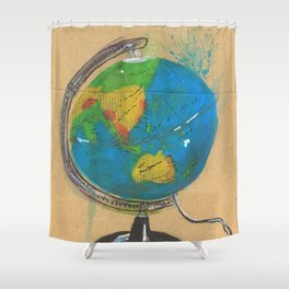 Diddie Doodle the Illuminated Globe Shower Curtain