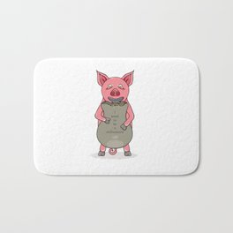 pig and bag with gold coins Bath Mat