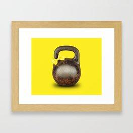 Funny large kettlebell with ribbon Framed Art Print