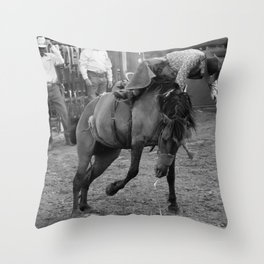 Busted bronco Throw Pillow
