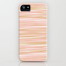 Horizontal Lines in Blush and Gold iPhone Case