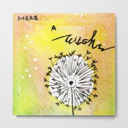 Watercolor Dandelion - Make a wish Metal Print