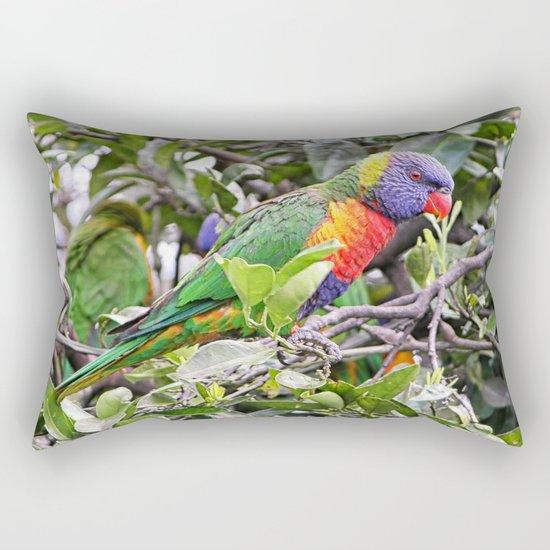 rainbow lorikeet on branch in tree Rectangular Pillow