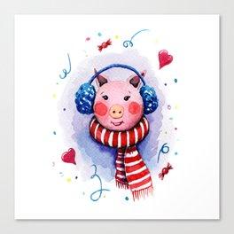 Lovely pig girl Canvas Print