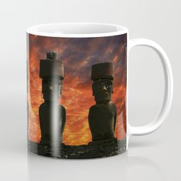 Five Moai statues with hat at sunset in the Easter Island. Coffee Mug