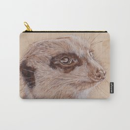 Meerkat Portrait - Drawing by Burning on Wood - Pyrography Art Carry-All Pouch