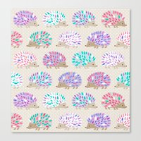 polkadot Canvas Prints featuring Hedgehog polkadot by Heleen van Buul