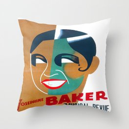 Josephine Baker Vintage Poster for Stockholm Throw Pillow