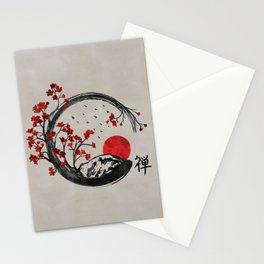 Zen Enso Circle and Sakura Branches Stationery Cards