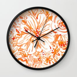 BIG SUNSHINE Orange Watercolor Floral Wall Clock