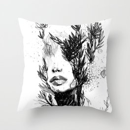 BLACK N WHITE WOMEN ABSTRACT FACE-LOVE Throw Pillow