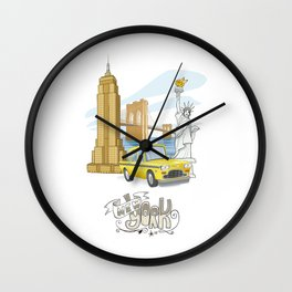 New York Significant Buildings Poster Wall Clock
