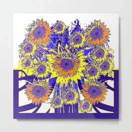 Sunflower Field Blue Shadows Abstract Metal Print