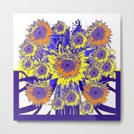 Sunflower Field Blue Shadows Abstract Metal Print