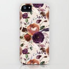 Bohemian orange violet brown watercolor floral pattern iPhone Case