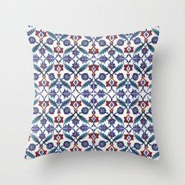 Iznik Tile Pattern Red Blue White Green Throw Pillow