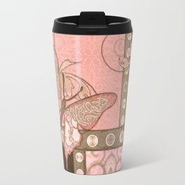 Butterfly Scroll Damask Lace Swirl Polka Dot Modern Pattern Watercolor Art Travel Mug