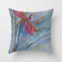 Stained Glass Dragonfly Throw Pillow