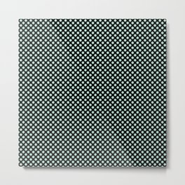 Black and Honeydew Polka Dots Metal Print