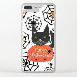 Happy Halloween Black Cat Clear iPhone Case