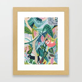 Jungle Sloth & Panther Pals Framed Art Print