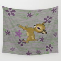 fawn Wall Tapestries featuring Spring Fawn by Mike Fritz