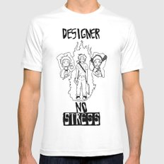 DESIGNER - NO STRESS! MEDIUM Mens Fitted Tee White
