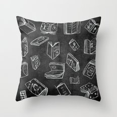 Classic Books - Pattern (Black) Throw Pillow