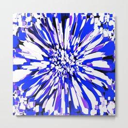 Dahlia Explosion Abstract Blue Metal Print
