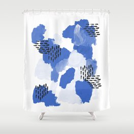 Painted blue abstract monochromatic minimal modern art painting dorm college gender neutral design Shower Curtain