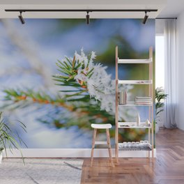 Bitter Cold, Snow-Covered Fir Tree Wall Mural