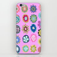 karen hallion iPhone & iPod Skins featuring Flowers Pink by Karen Fields by Karen Fields Design