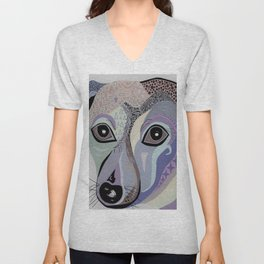 Chiweenie in Denim Tones Unisex V-Neck