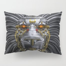 Hear Me Roar / 3D render of serious metallic robot lion Pillow Sham
