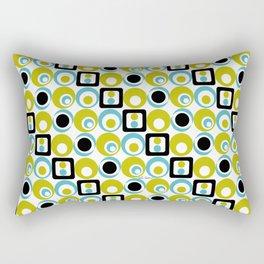 Lime Turq Black White Circles Squares Rectangular Pillow