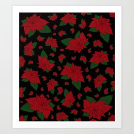 Poinsettia Black Art Print
