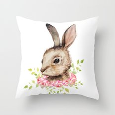 Easter bunny with flower wreath  Throw Pillow