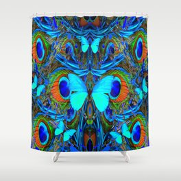 ELECTRIC NEON BLUE BUTTERFLIES & BLUE PEACOCK FEATHERS Shower Curtain