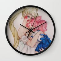 sailormoon Wall Clocks featuring Mother and daughter by Jayahime