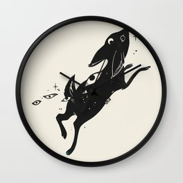 Cute Space Bunny Rabbit With Stars And Eyes Wall Clock