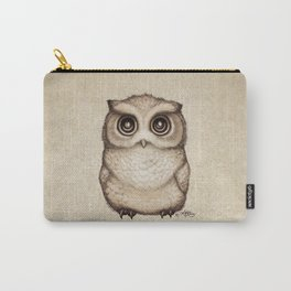 """""""The Little Owl"""" by Amber Marine ~ Graphite & Ink Illustration, (Copyright 2016) Carry-All Pouch"""