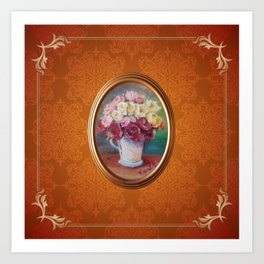 Bouquet of roses still life oil painting on damask pattern Art Print
