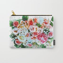 Rose Flower Bouquet Watercolor Carry-All Pouch