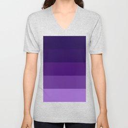 Purple Lavender Indigo Stripes Unisex V-Neck