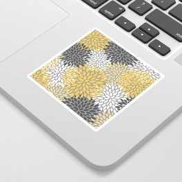 Modern Elegant Chic Floral Pattern, Soft Yellow, Gray, White Sticker