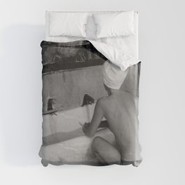 Bath in Paris, Cold Water Flat, Female Nude black and white art photography / photograph Duvet Cover