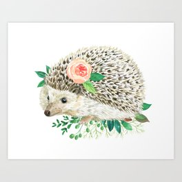 hedgehog with rose Art Print