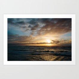 The Pacific Ocean at Sunset // Fort Stevens State Park, Oregon Art Print