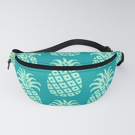 Retro Mid Century Modern Pineapple Pattern Mint Green and Teal 2 Fanny Pack