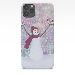 snowman and chickadees iPhone Case